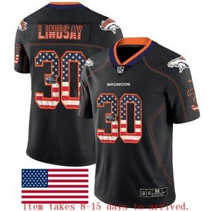 Broncos #30 Phillip Lindsay USA Flag Jersey